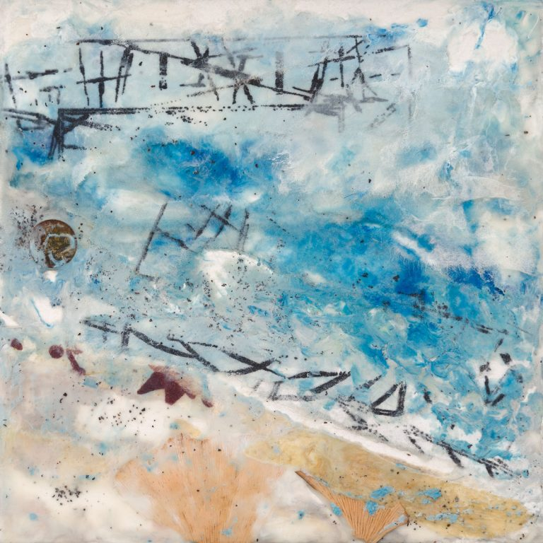 "Janice Key | Beachscape | Encaustic, Mixed Media (6"" x 6"")"