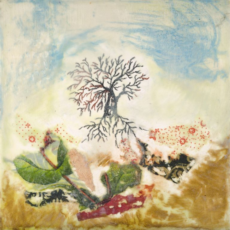 "Janice Key | Bent Tree | Encaustic, Mixed Media (6"" x 6"")"