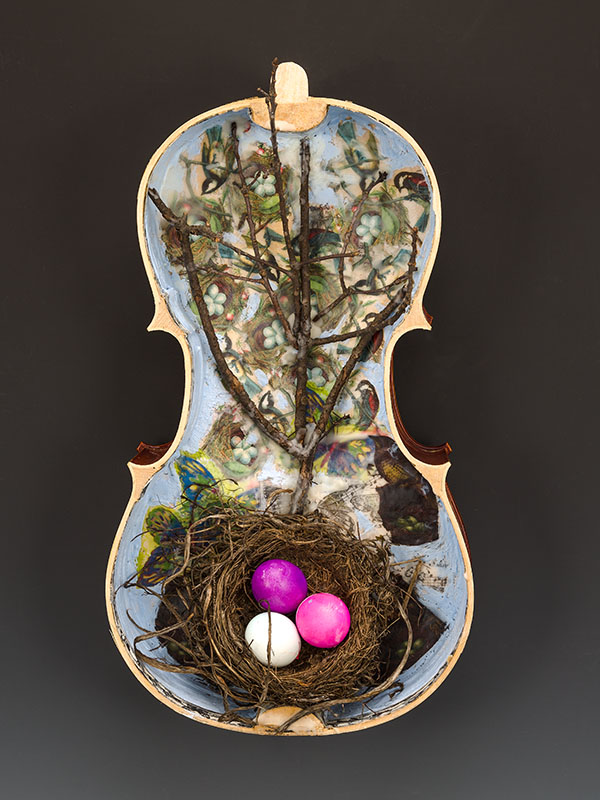 "Nora Chapa Mendoza | Bird Nest | Encaustic, Assemblage on Viola Shell (22"" x 12"" x 6"")"