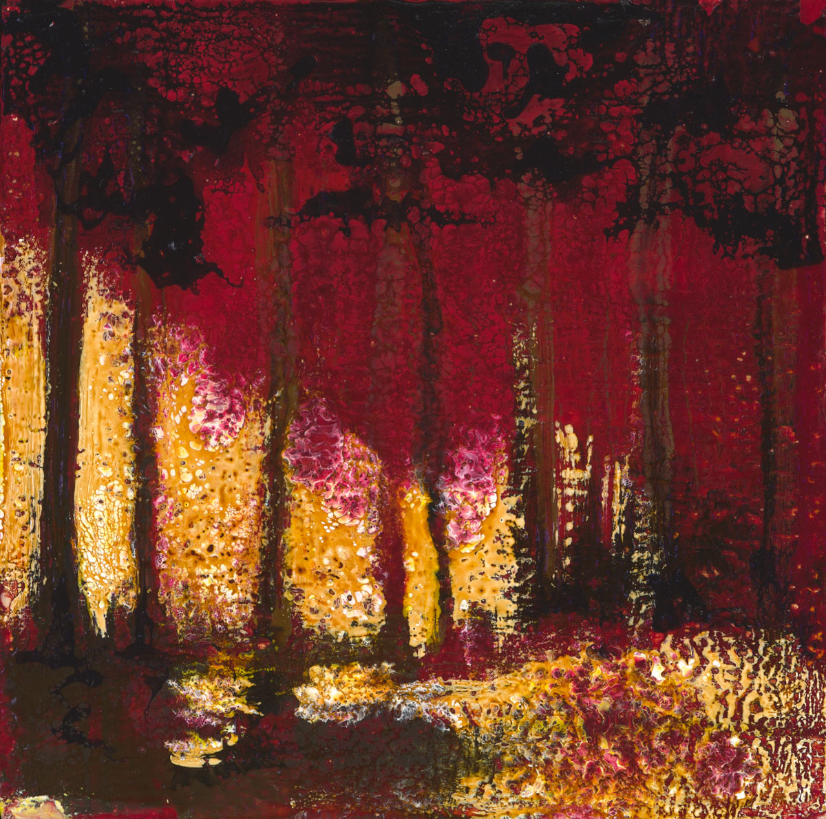 "Kim Ensch | Dark Forest | Encaustic, Mixed Media (8"" x 8"")"