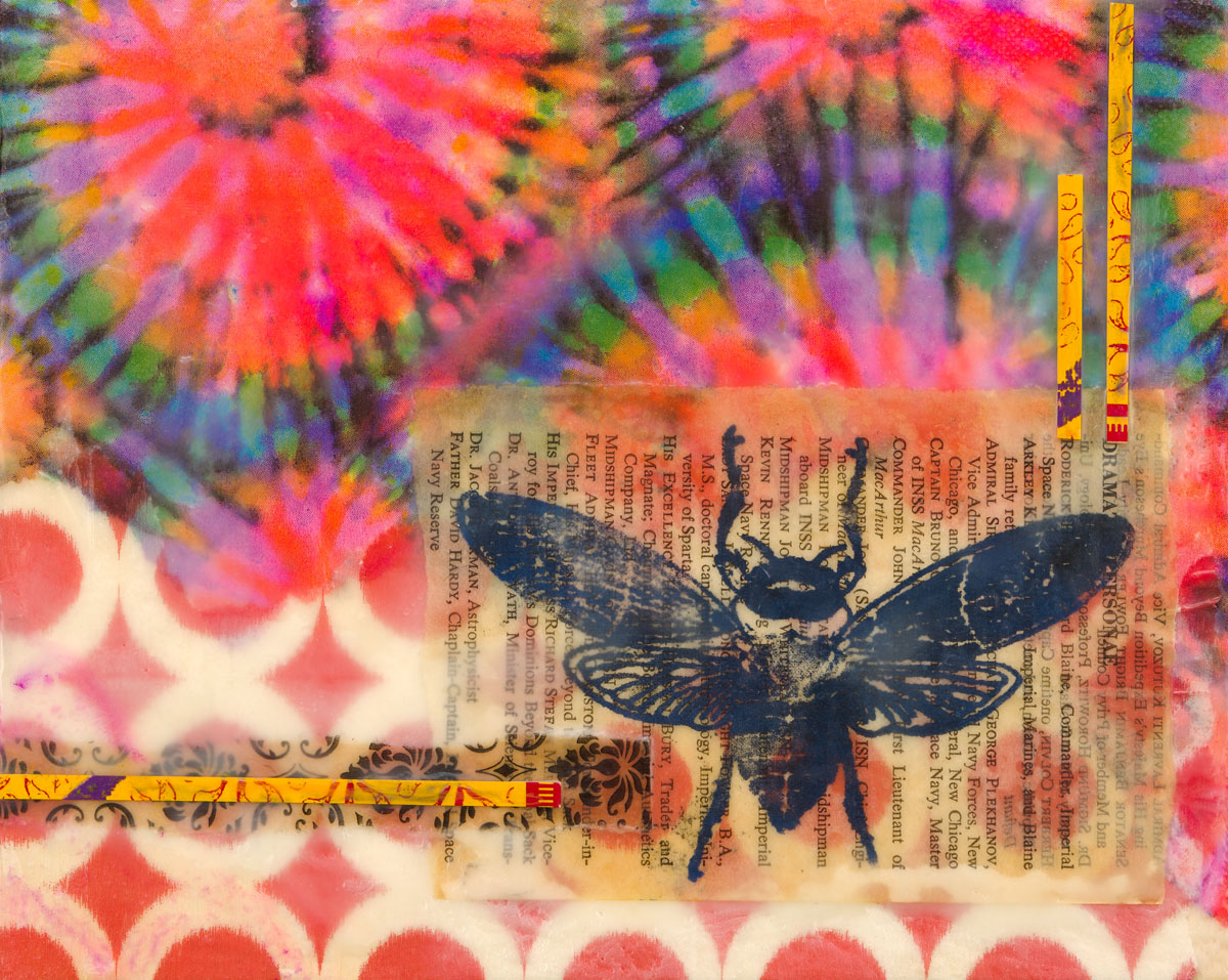 "Kathy Jacobi | Electric Forest | Encaustic, Collage (8"" x 10"")"