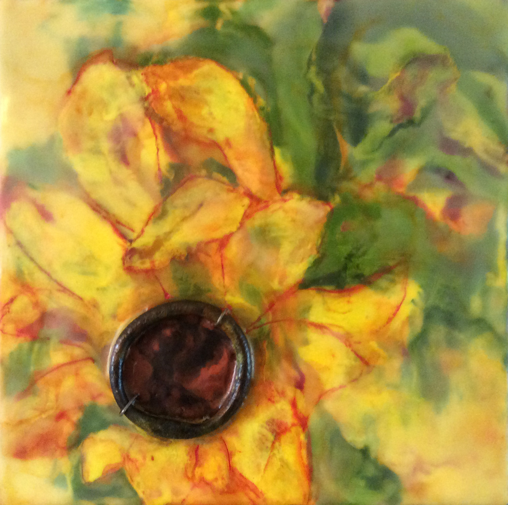 "Sue Martin | Golden Day | Encaustic, Mixed Media (10"" x 10"")"