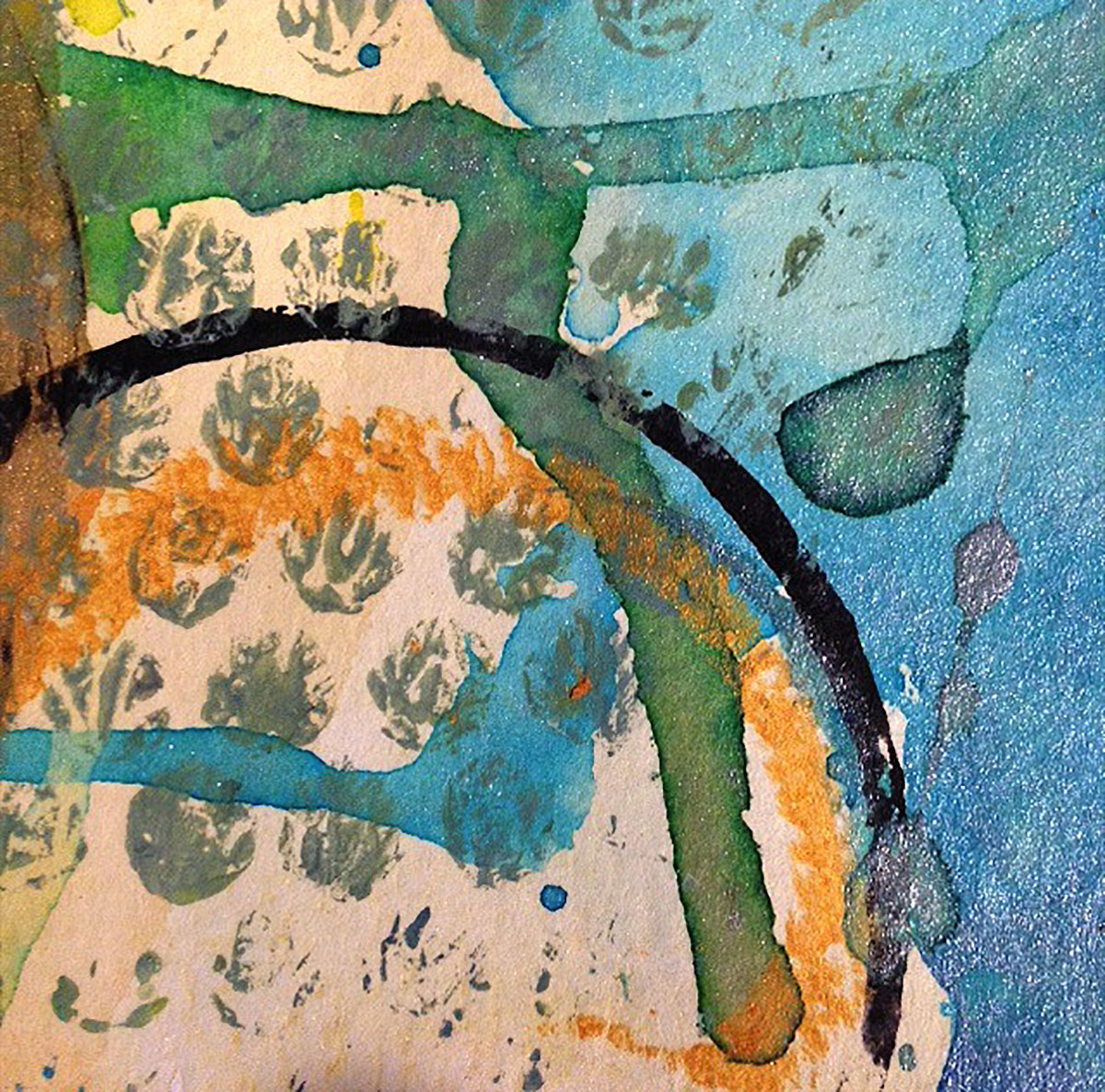 "Debra Groth | Itty Bitty Ditty #2 | Watercolor, Dyes, Inks, Encaustic (3"" x 3"")"