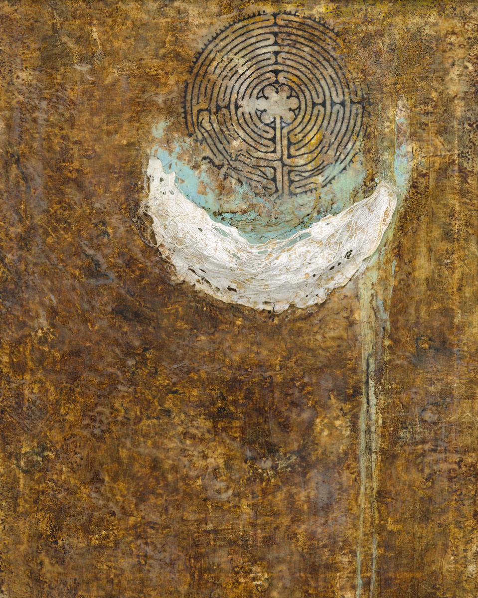 "Kate Paul | Labyrinth | Encaustic, Mixed Media | 20"" x 16"""