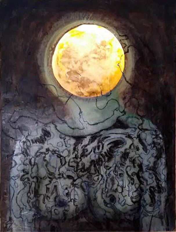 "Kate Paul | Moon Tattoo | Oil Paint, Ink, Silk, LED Lighting, Encaustic Medium (24"" x 18"")"