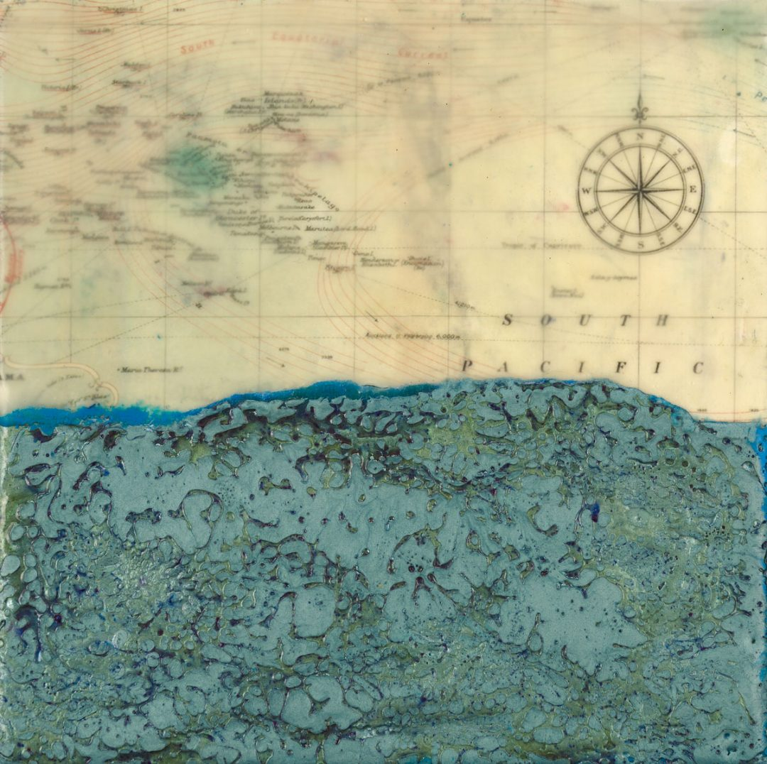 "Wendy Wernet | Ocean | Encaustic, Mixed Media (6"" x 6"")"