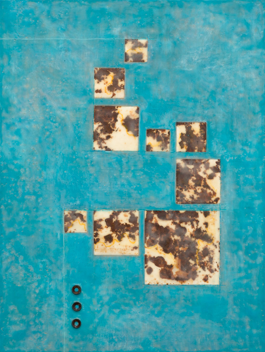 "Candace Law | Pilgrim | Encaustic, Rust Prints, Mixed Media | 24"" x 18"""