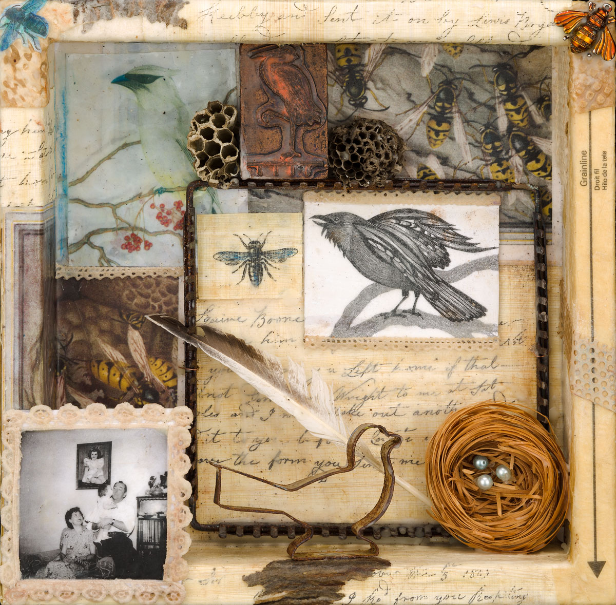 "Ruth Warnock | Really - The Birds + The Bees or the Stork | Encaustic, Assemblage (12"" x 12"" x 3"")"