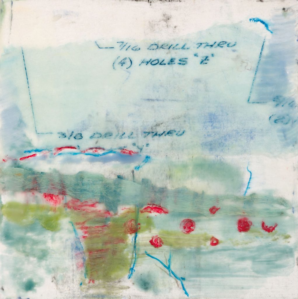 "Rosemary Lee | The Drill | Encaustic, Mixed Media (8"" x 8"")"