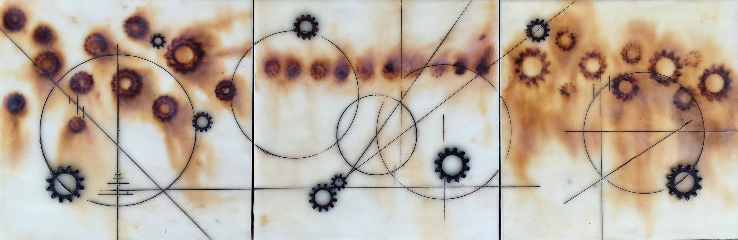 "Sarah George (with Michael George) | Untitled | Encaustic, Rust Print, Metal, Oil Paint (6"" x 18"")"
