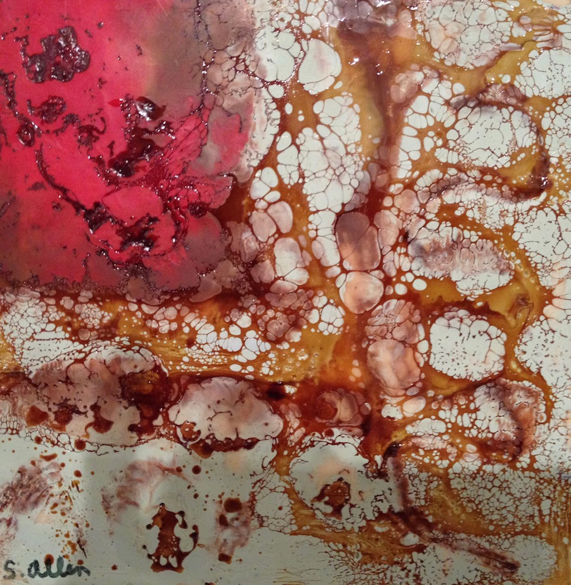 "Suzanne Allen | Red Burn | Encaustic on wood panel (8"" x 8"")"