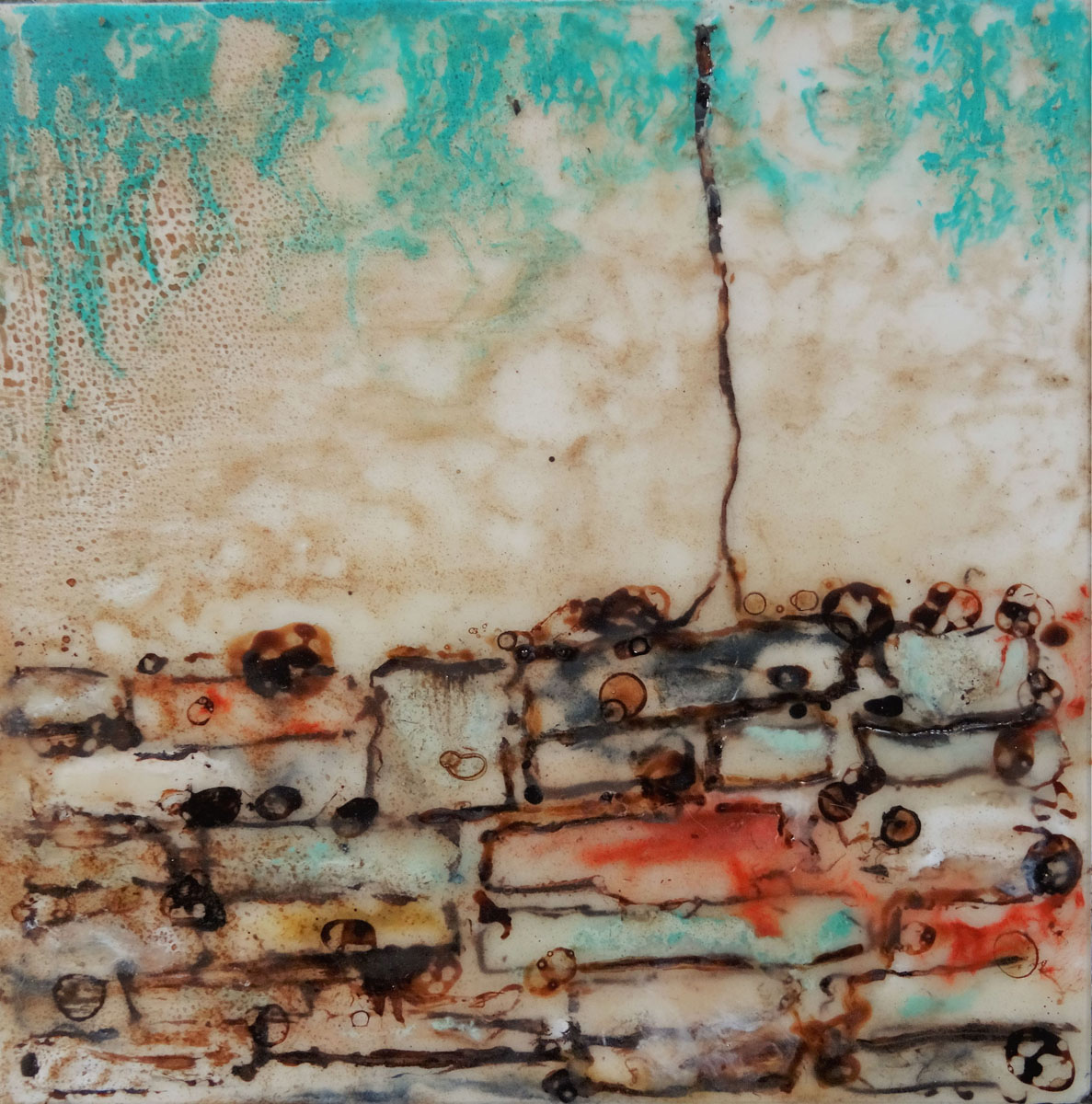 "Christina Czaja | Buried | Encaustic, ink (6"" x 6"")"