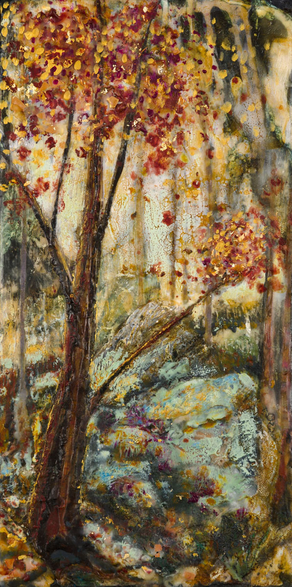 "Kim Ensch | Changing Seasons | Encaustic, paper, metal foil, shellac on wood panel (16"" x 8"")"