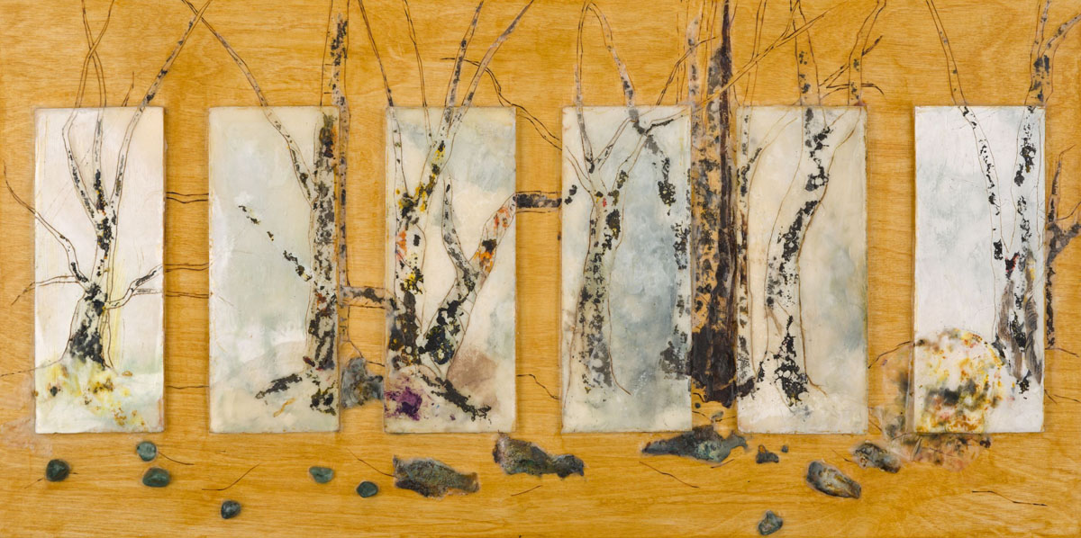 "Kim Ensch | Where One Journey Ends | Encaustic, paper, stones, wood (12"" x 24"")"