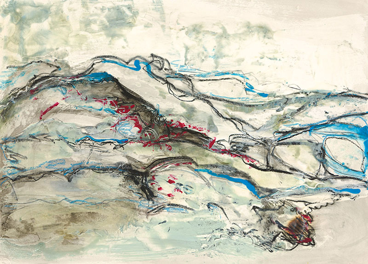 "Rosemary Lee | Low Tide | Encaustic painting on Bristol board with ink (15"" x 20"")"