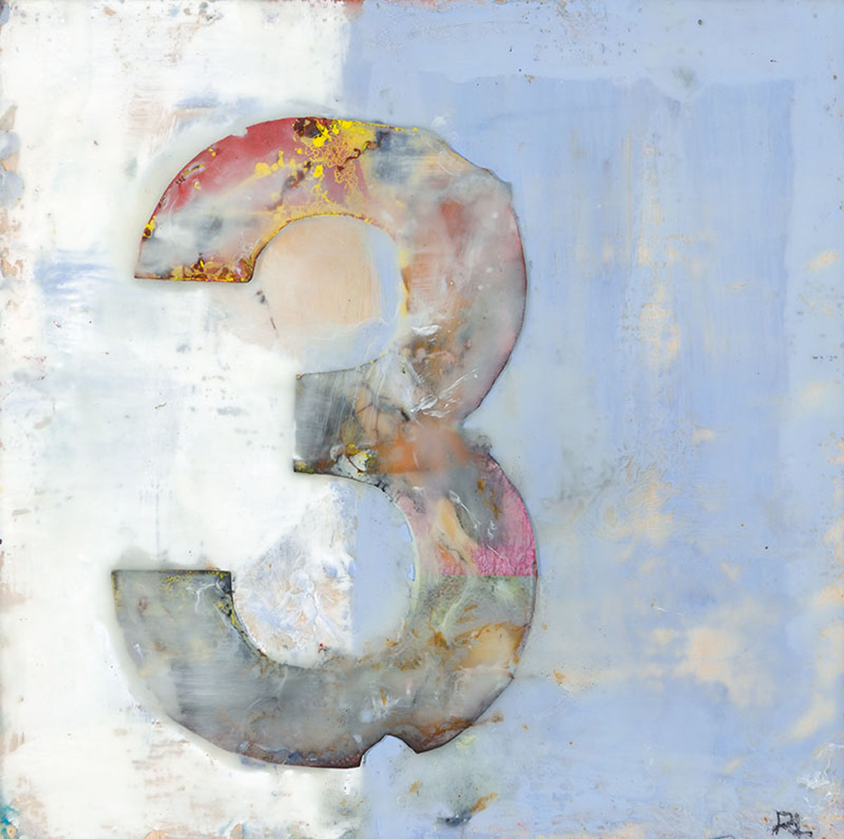 "Rosemary Lee | No. 3 | Encaustic painting with a collaged piece on wood panel (8"" x 8"")"