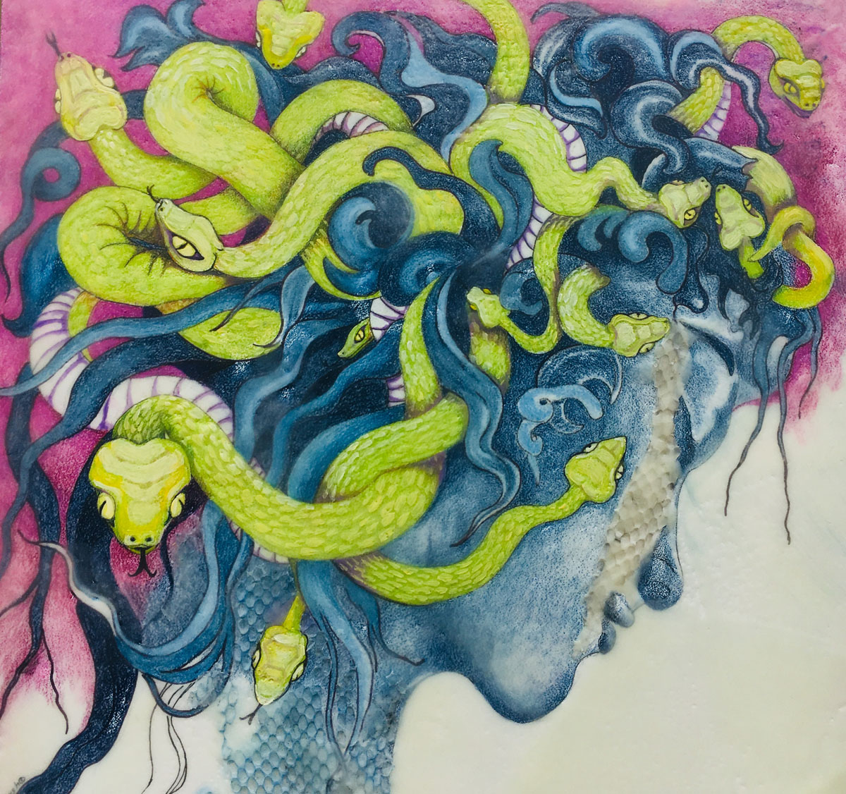 "Tim Marsh | Medusa | Encaustic, colored pencil, oil paint, snake skin (12"" x 12"")"