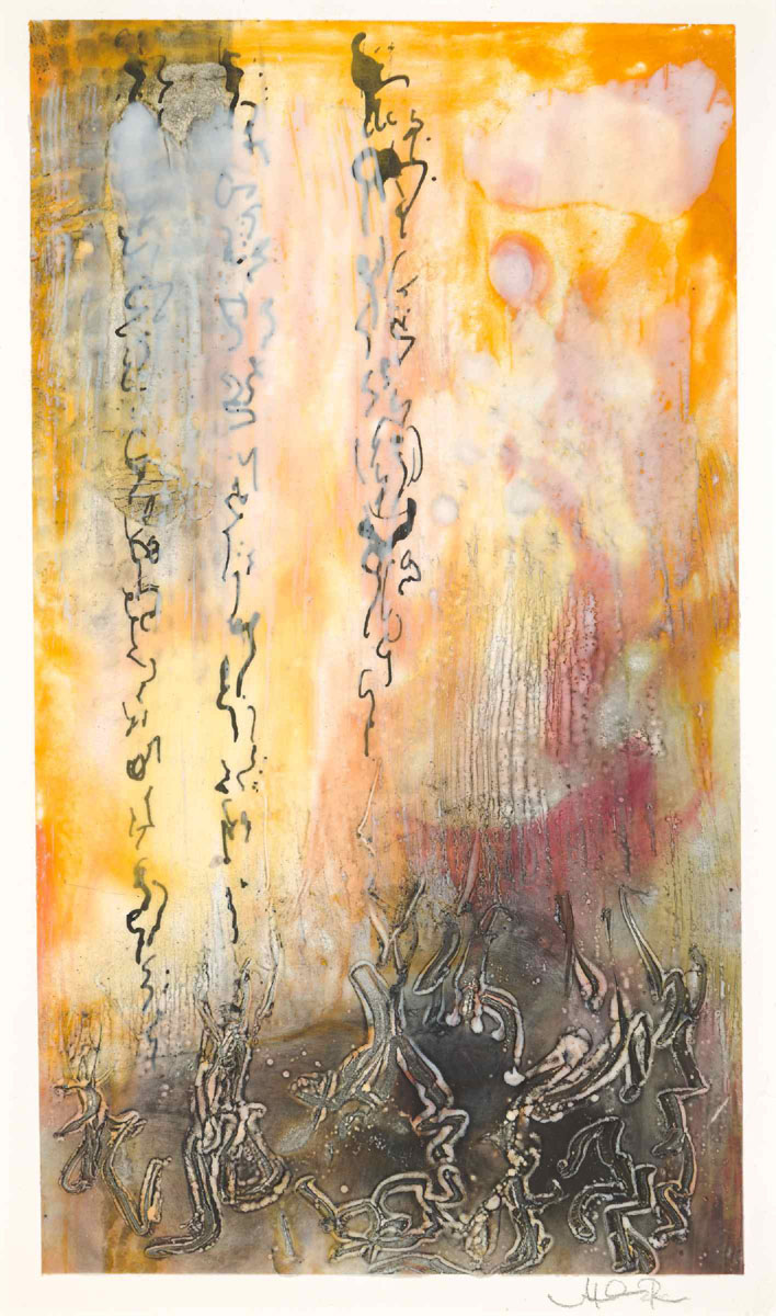 "Melissa Rian | Asemic 66 | Encaustic on paper (12"" x 7"")"
