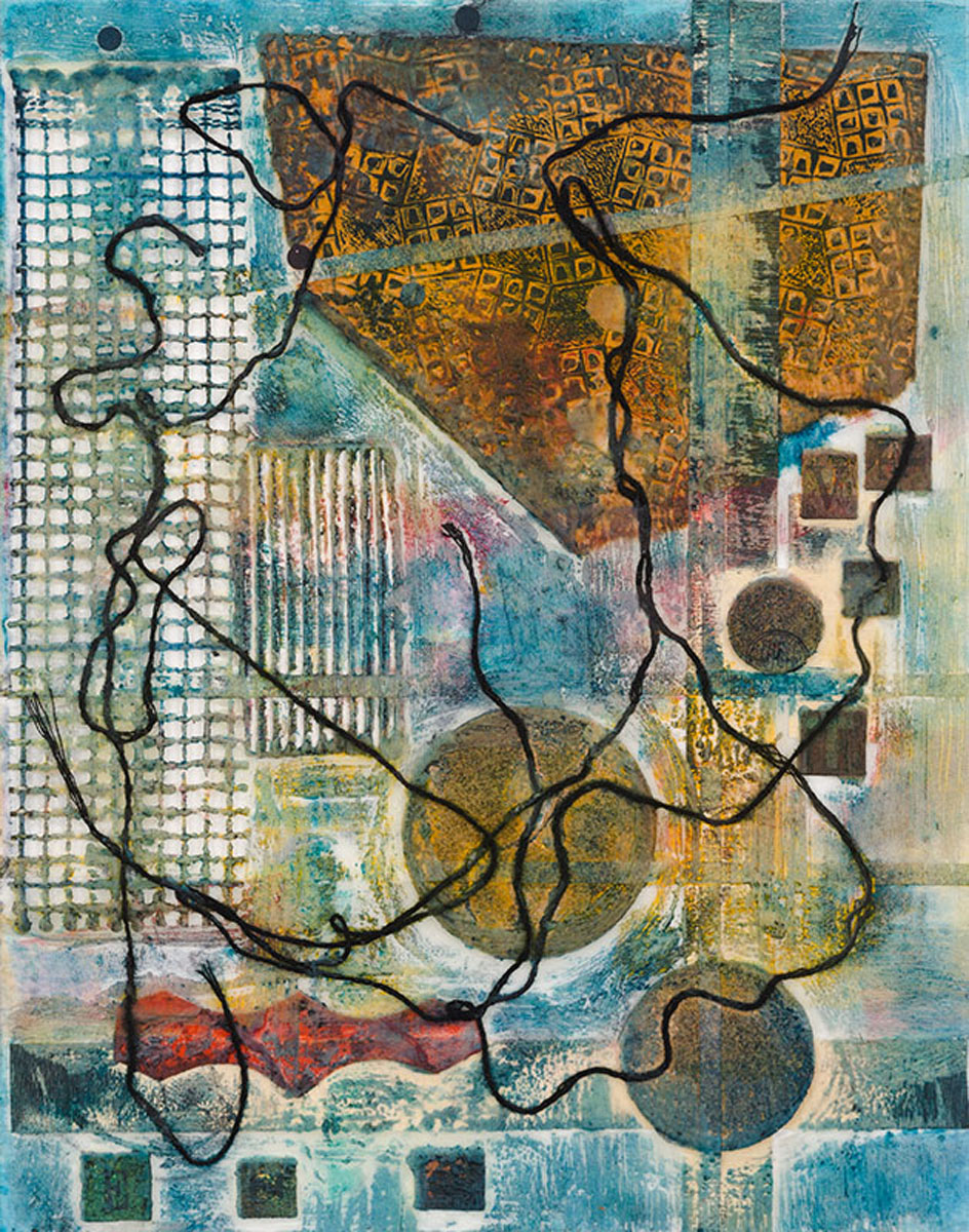 "Ruth Warnock | Oracle | Encaustic mixed media on acrylic sheet (14"" x 11"")"
